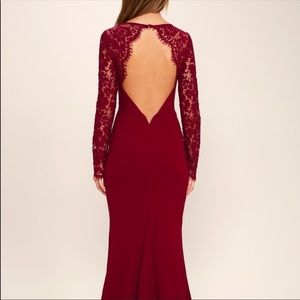 Whenever You Call Wine Lace Maxi Dress